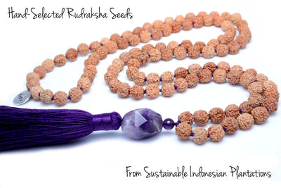 Amethyst Mala Beads Necklace