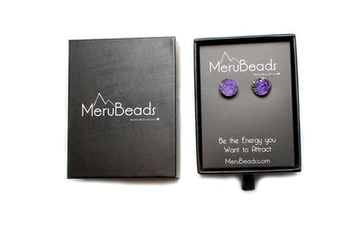 Gold Plated Amethyst Druzy Earrings - MeruBeads