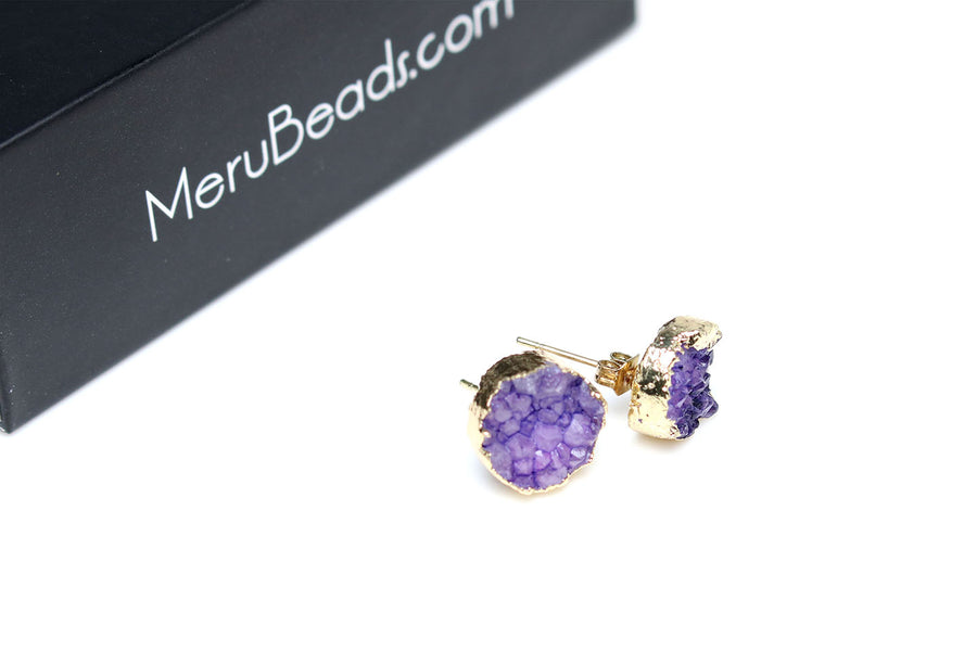 Gold Plated Amethyst Druzy Earrings