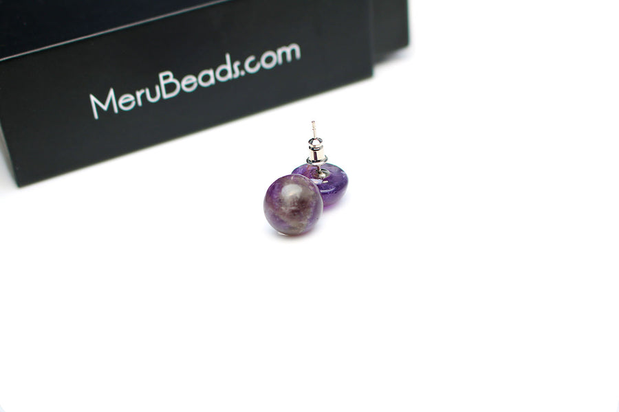 Platinum Plated Round Amethyst Stud Earrings - MeruBeads