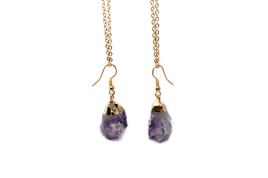 Gold Platted Raw Amethyst Pendant Earrings - MeruBeads