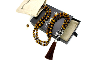 Tiger's Eye MalaBeads Necklace with Removable Tassel
