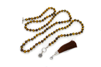 8mm Tiger's Eye Yellow Mala Beads Wrap Necklace with Removable Tassel - MeruBeads