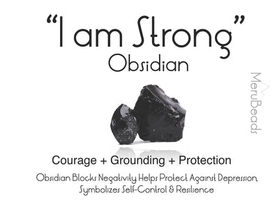 Obsidian Gemstone mantra card