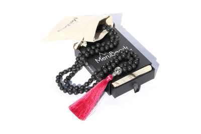 Lava Rock Red Tassel Mala Beads Necklace