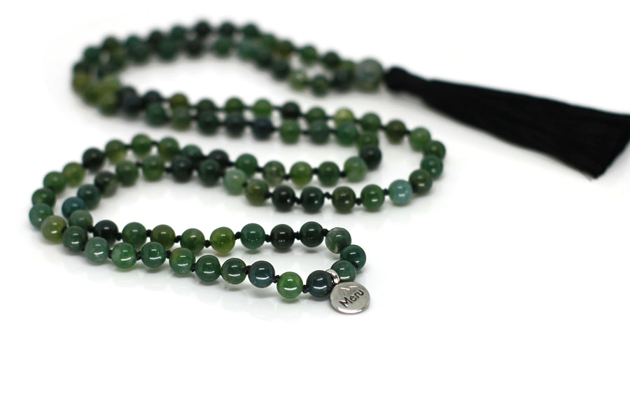 "Moss Agate Mala Beads Necklace - ""I am Warrior"" - MeruBeads"