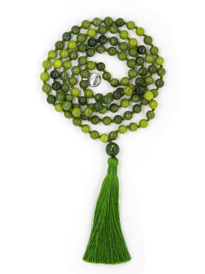 "Nephrite Jade Mala Beads Necklace - ""I am Fearless"" - MeruBeads"