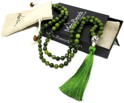 Nephrite Jade Mala Beads Necklace
