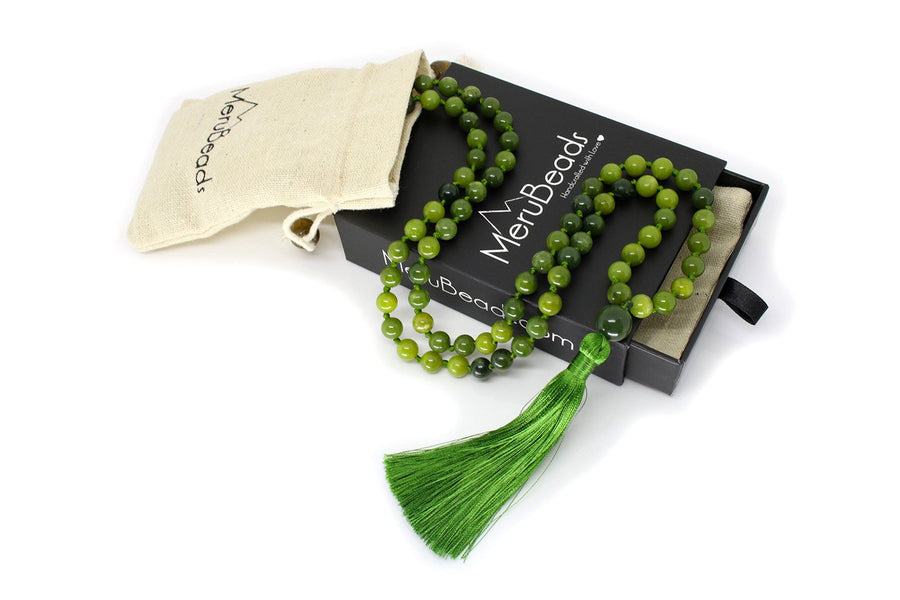 "Nephrite Jade Mala Beads Necklace - ""I am Fearless"""