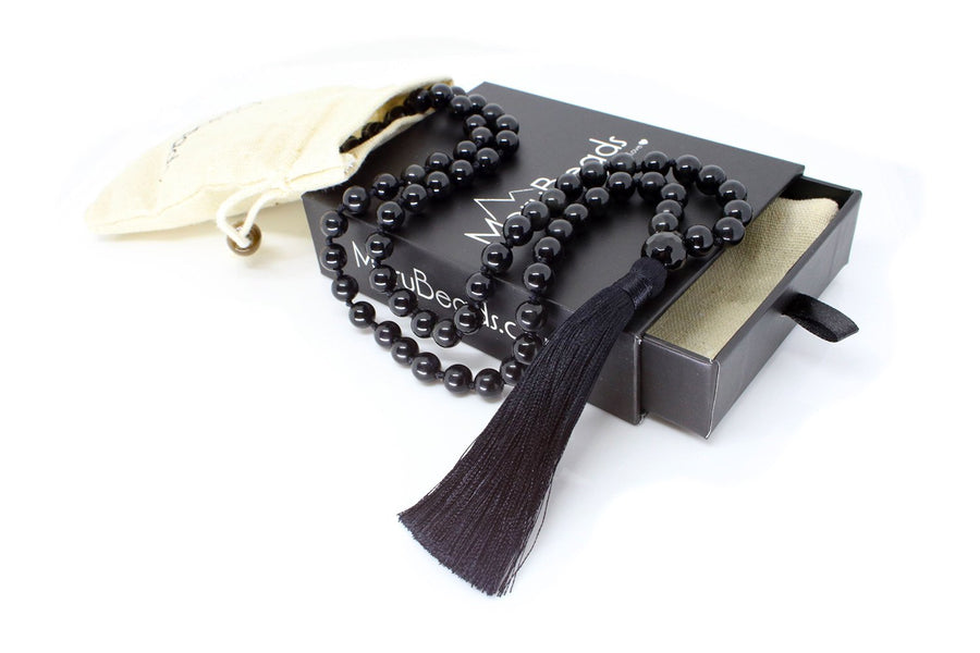 "Obsidian Mala Beads Necklace - ""I am Strong"""