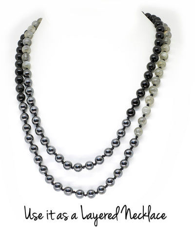 8mm Labradorite, Obsidian & Hematite Ombre Mala Beads Wrap Necklace with Removable Tassel