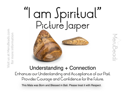 "Picture Jasper Mala Beads Necklace - ""I am Spiritual"" - MeruBeads"