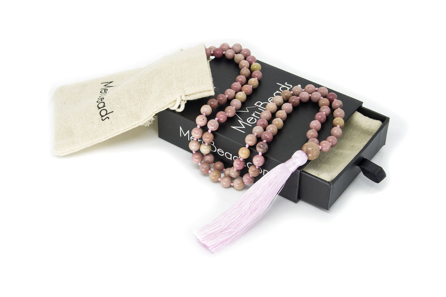 Rhodonite Mala Beads Necklace - Gemstone Guru