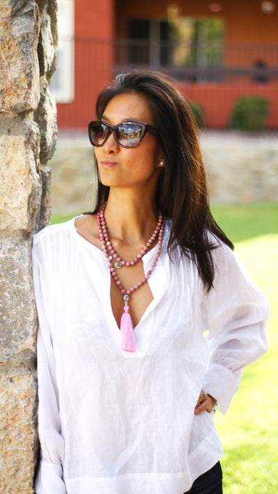 Rhodonite mala necklace on model