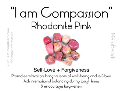 Rhodonite gemstone mantra card