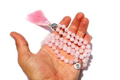 Rose Quartz Mala Beads Necklace - MeruBeads