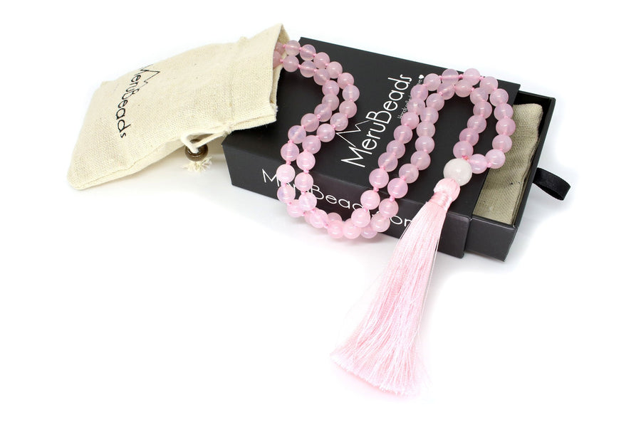 "Rose Quartz Mala Beads Necklace - ""I am Enough"""