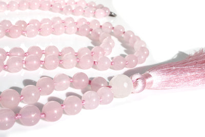 "Rose Quartz Mala Beads Necklace - ""I am Enough"" - MeruBeads"
