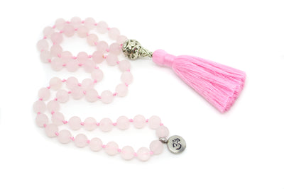 Rose Quartz Pocket Mala - 54 Beads Mini Mala - MeruBeads