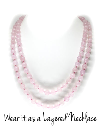 8mm Rose Quartz Mala Beads Wrap Necklace with Removable Tassel - MeruBeads