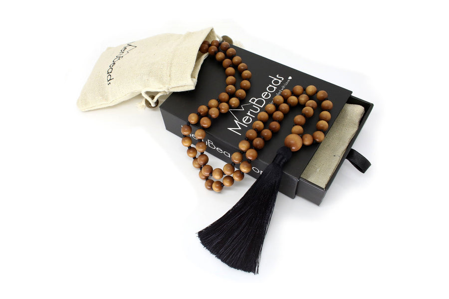 "Sandalwood Mala Beads Necklace - ""I am Peace"" - MeruBeads"