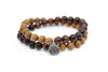 Tiger's Eye Red & Sandalwood Wrap Bracelet for Men - MeruBeads