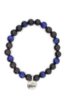 Tiger's Eye Blue & Black Sandalwood Wrap Bracelet for Men - MeruBeads