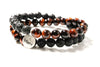 Tiger's Eye Red & Lava Rocks Wrap Bracelet for Men