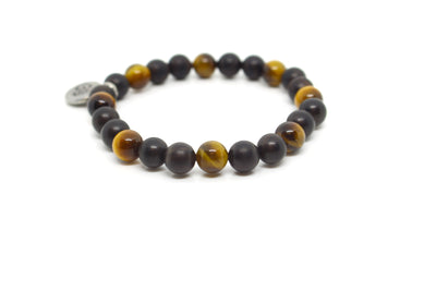 Tiger's Eye Yellow & Black Sandalwood Wrap Bracelet for Men - MeruBeads
