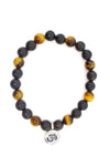 Tiger's Eye Yellow & Black Sandalwood Wrap Bracelet for Men