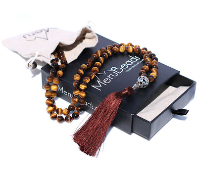 Tiger's Eye Yellow Mala Beads necklace