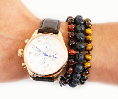 Tiger's Eye Red Mala Bracelet for Men - MeruBeads