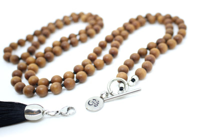 8mm Sandalwood Mala Beads Wrap Necklace with Removable Tassel - MeruBeads