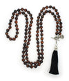 Tiger's Eye Mala Beads Necklace with Removable Tassel