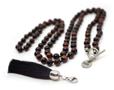 Tiger's Eye Red Mala Necklace with Removable Tassel