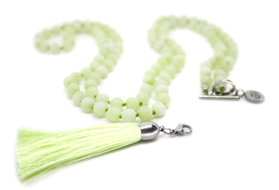 8mm Frosted Green Quartz Mala Beads Wrap Necklace with Removable Tassel