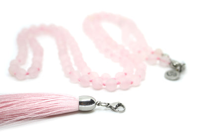 8mm Frosted Rose Quartz Mala Beads Wrap Necklace with Removable Tassel - MeruBeads