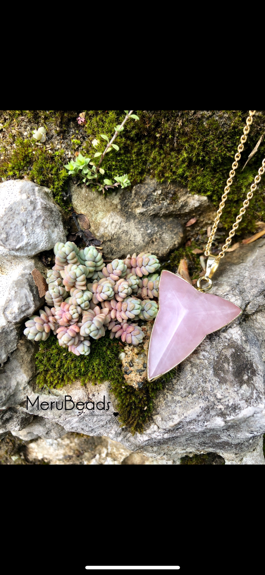 Rose Quartz Arrowhead Pendant Charm with Gold Plated Necklace - MeruBeads