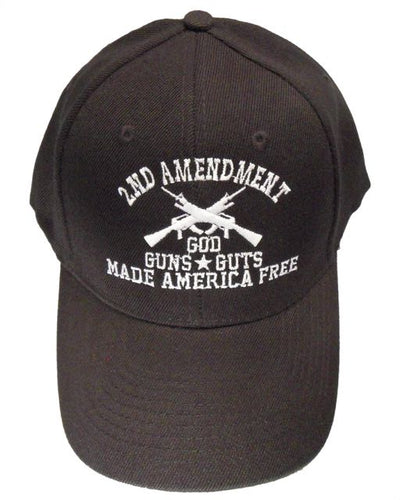 Black 2nd Amendment Hat – God, Guns, & Guts - FREE Shipping