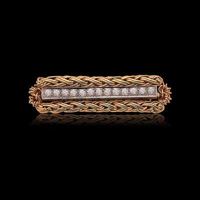 Vintage Oscar Heyman Diamond & Gold Tie Bar Pin Brooch