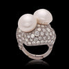 Twin Pearl & Diamond Platinum Cocktail Ring