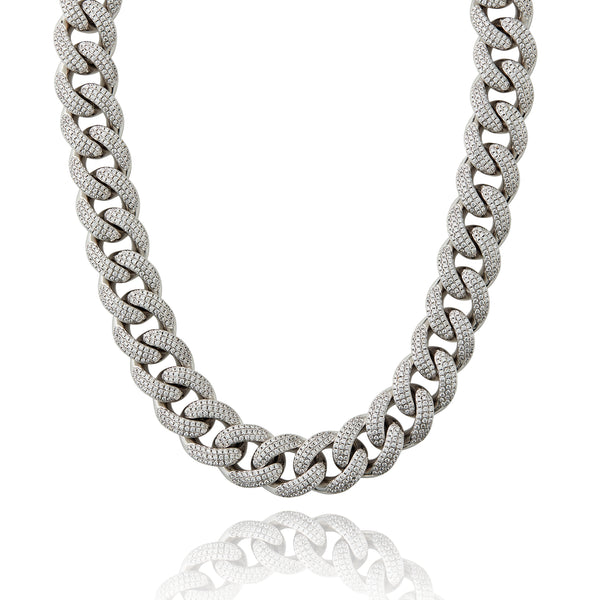SA Cuban Choker (19mm) - White Gold