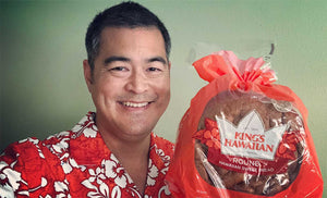 orange Hawaiian shirt worn in the King's Hawaiian Sweet Bread commercial