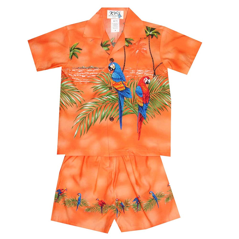 Boy's Hawaiian Shirt and Shorts Sets