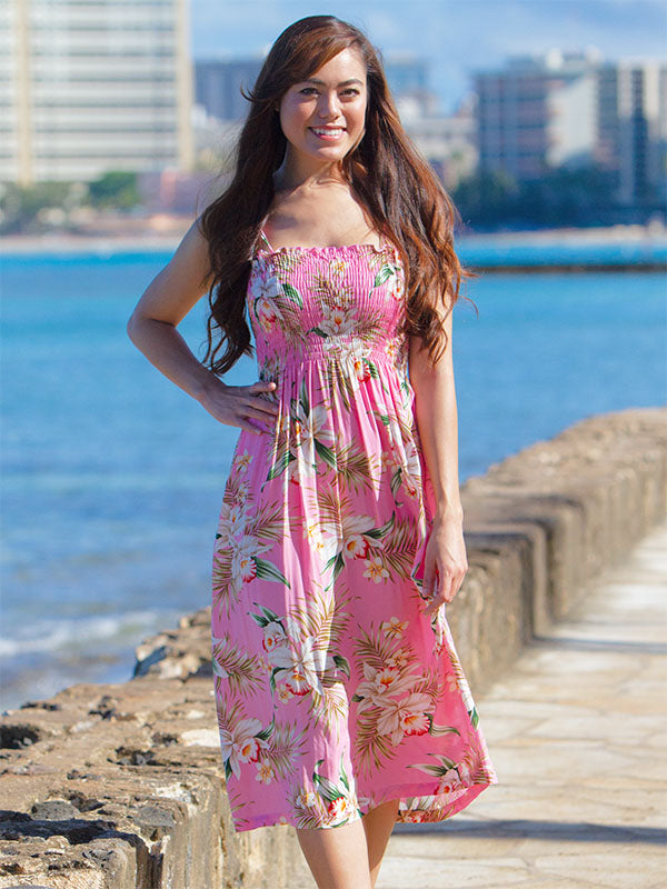 Mid-Length Easy-Fit Hawaiian Dresses