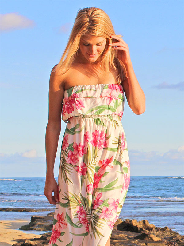 Strapless Full-Length Hawaiian Dresses