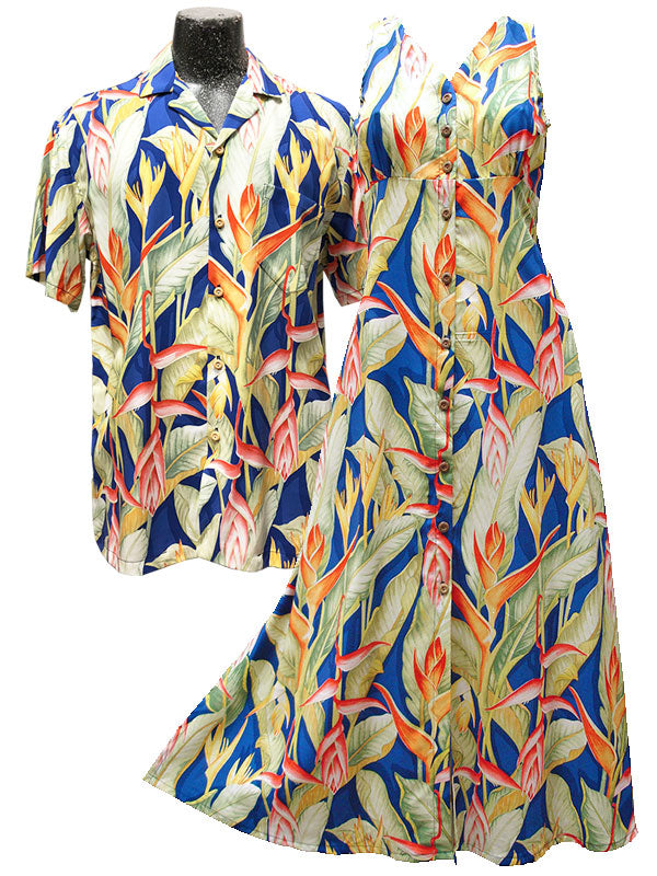 Heliconia Heaven Hawaiian Shirts and Dresses