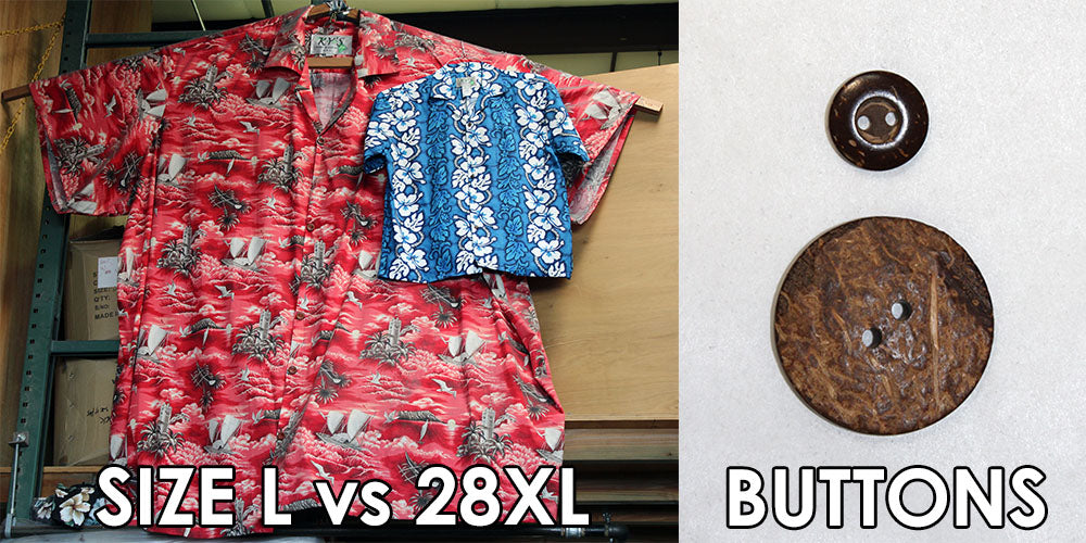 Size 28XL Hawaiian shirt next to a size L