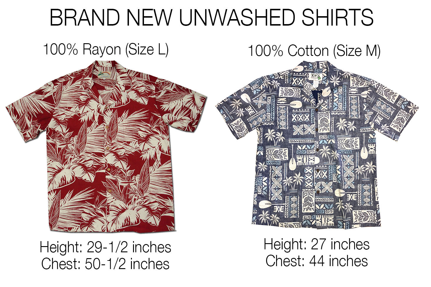 brand new unwashed cotton and rayon hawaiian shirts