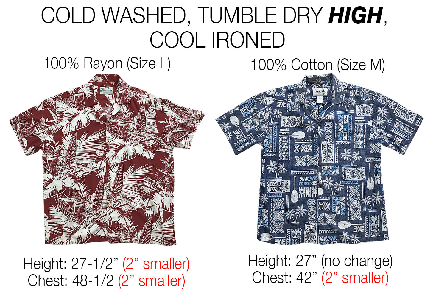 Hawaiian shirts measured after tumble dry high